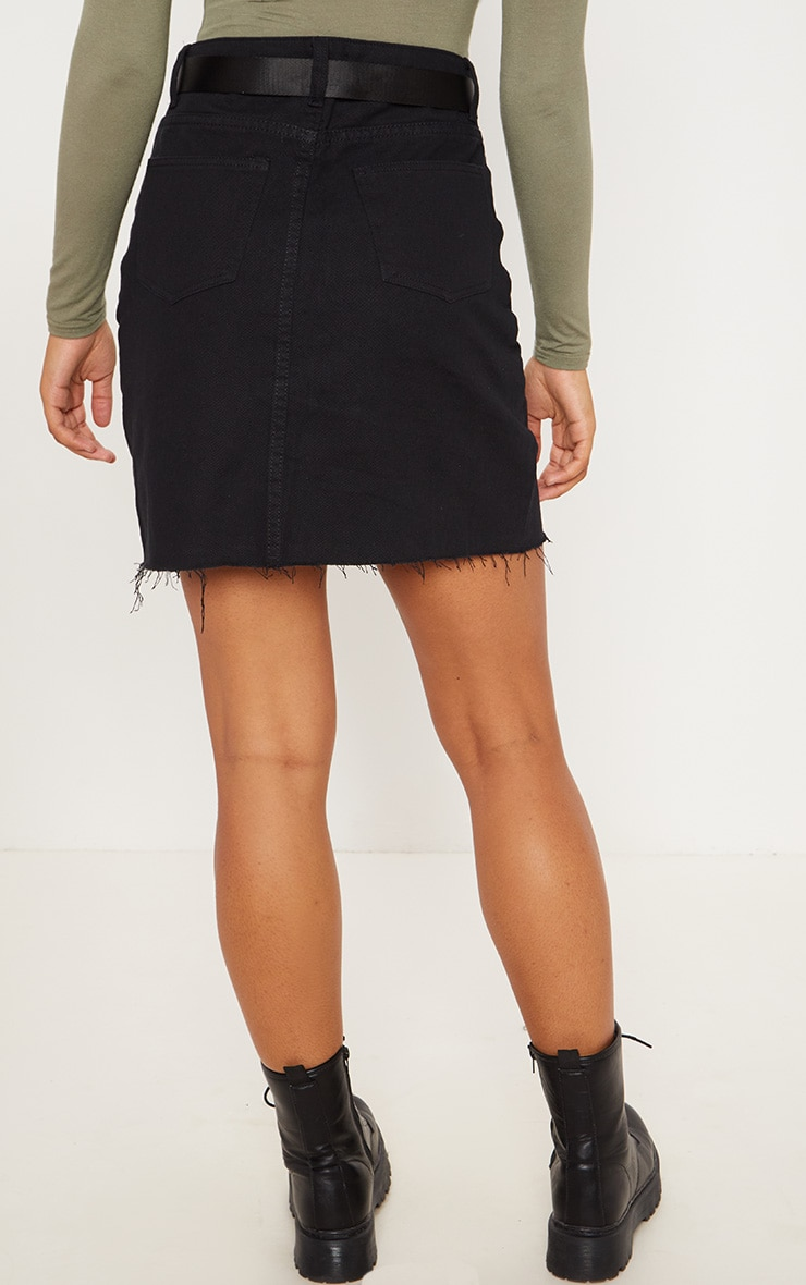 Tall Black High Waisted Denim Skirt 4