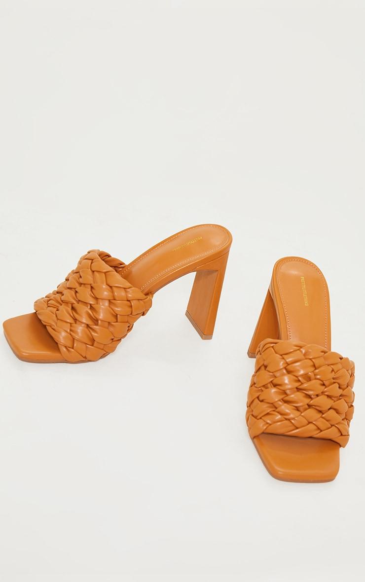 Tan Basket Weave Square Toe High Flat Block Heel Mules 4
