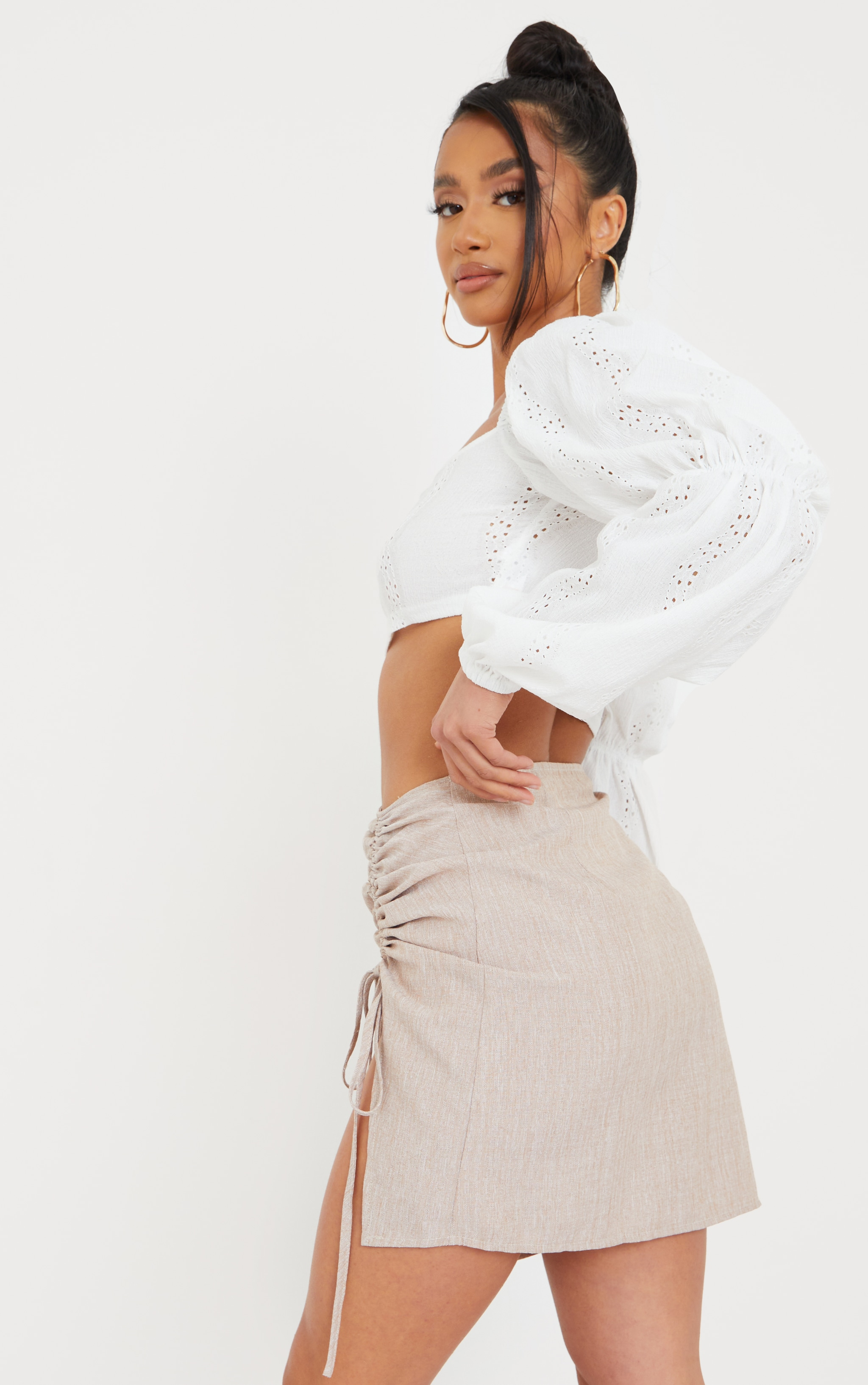 Petite White Broderie Anglaise Balloon Sleeve Cropped Blouse 2