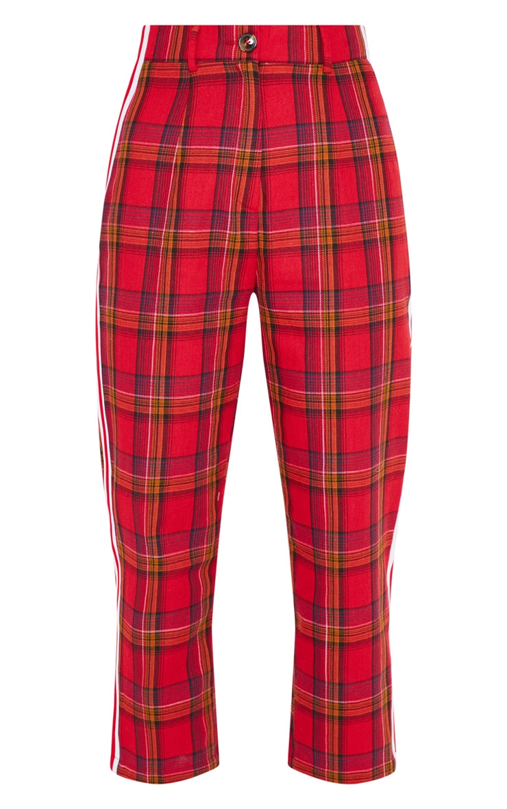 Red Side Tape Check Culotte 3