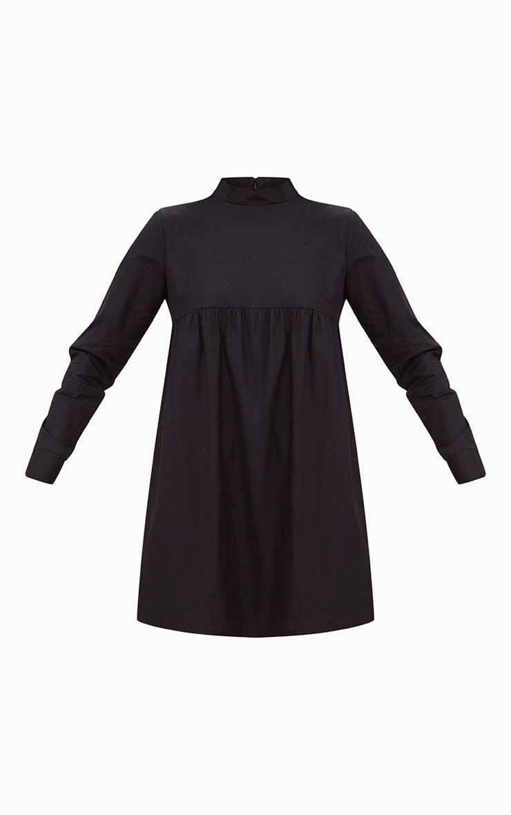 Black Cotton Poplin High Neck Smock Dress 3