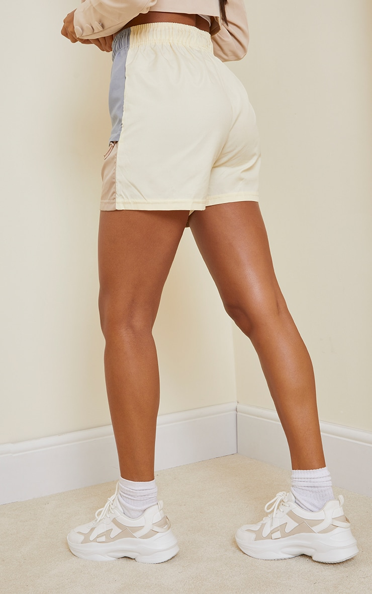 Stone Contrast Panel Peached Runner Shorts 3