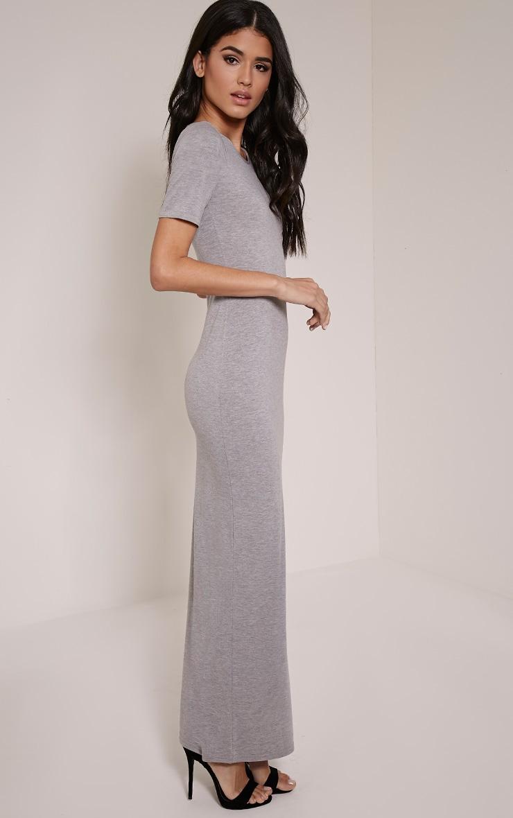 Basic Greymarl Round Neck Maxi Dress 3