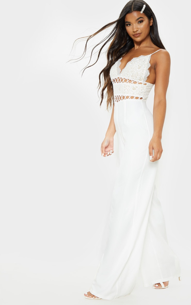 White Lace Strappy Jumpsuit 3