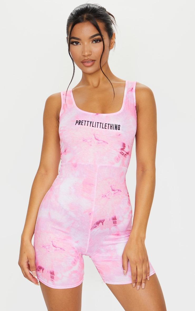 PRETTYLITTLETHING Pink Embroidered Tie Dye Unitard 1