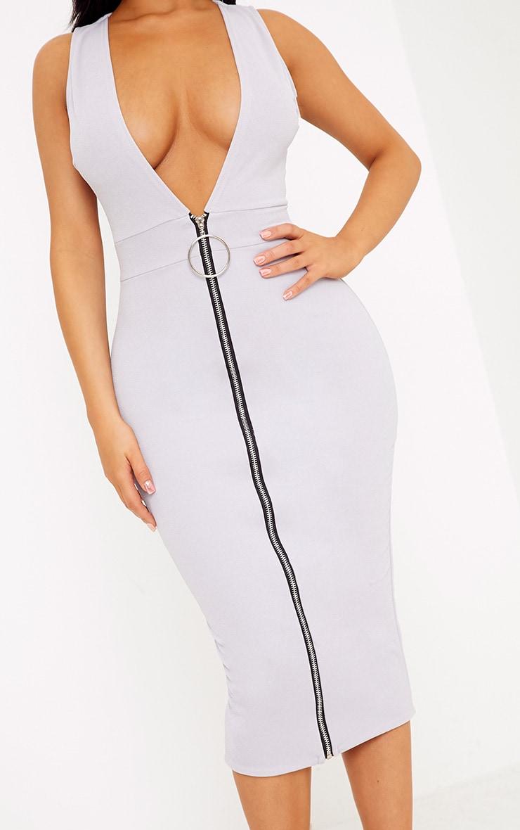 Shape O-Ring Zip Skirt Midi Dress 5