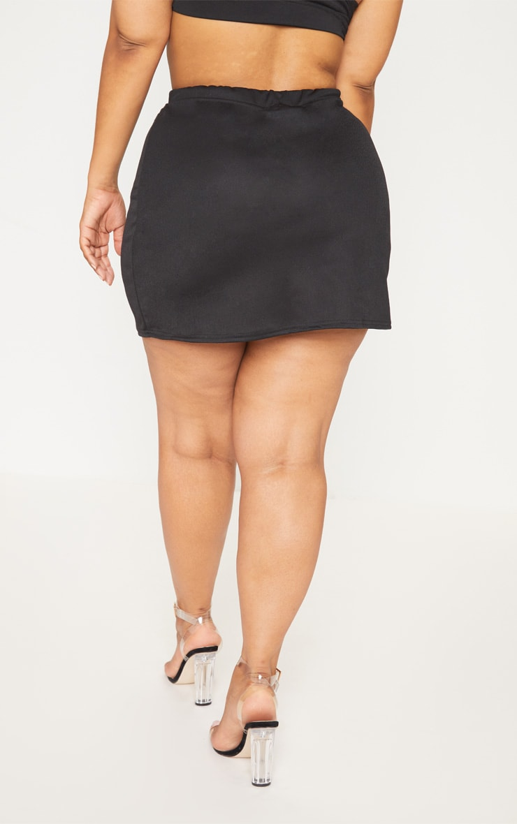 Plus Black Tortoise Button Detail Mini Skirt 4