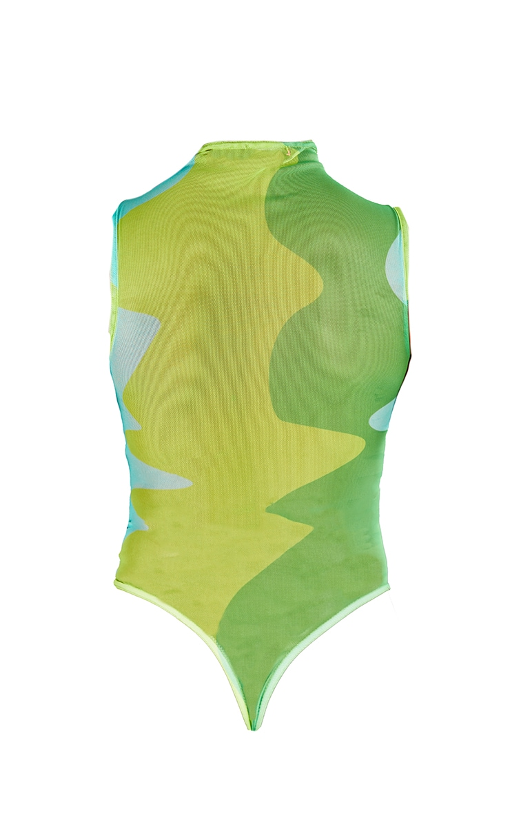 Lime Abstract Wave Print Sleeveless Bodysuit 6