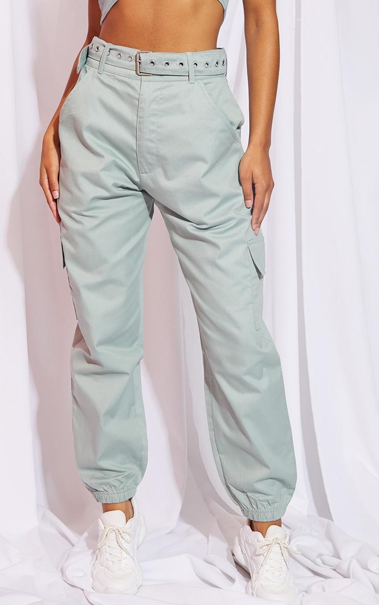 Sage Eyelet Detail Belted Cargo Pants 2