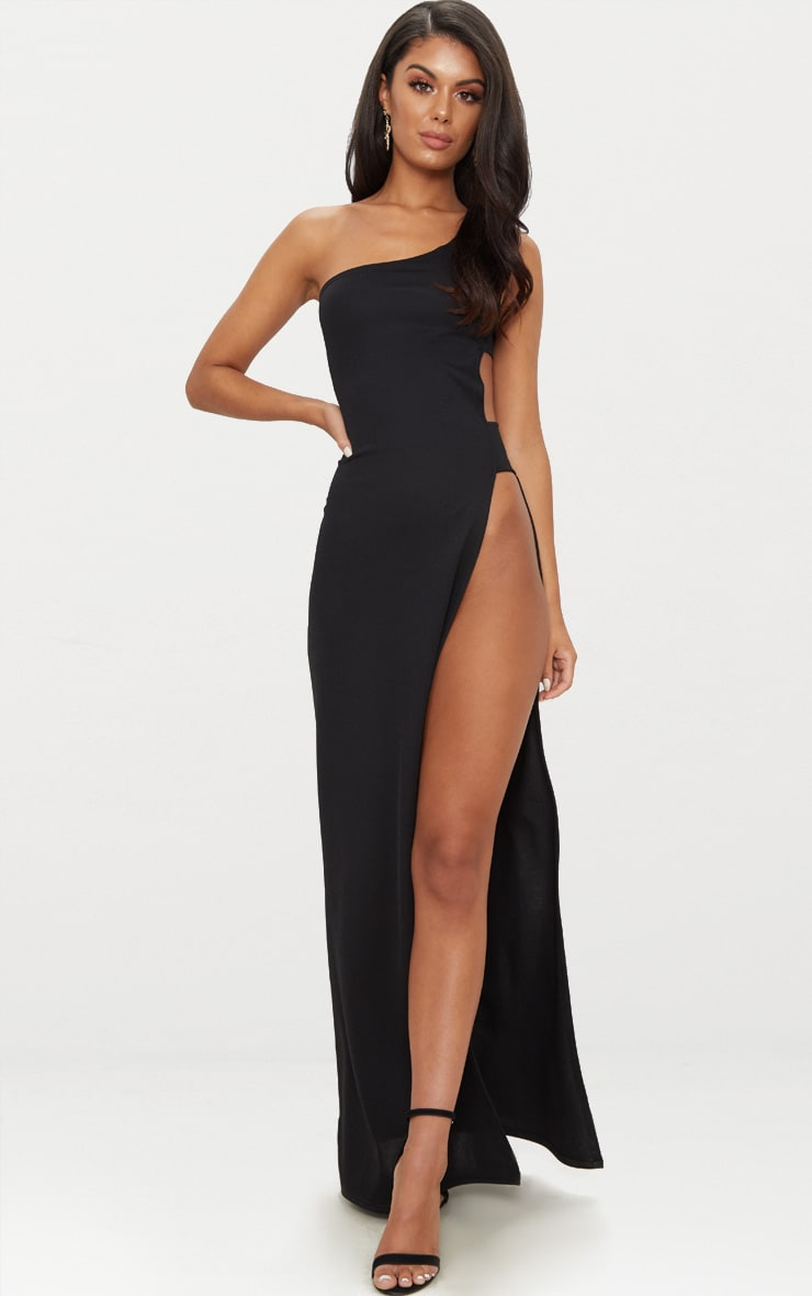 Black One Shoulder Extreme Split Cut Out Detail Maxi Dress 1