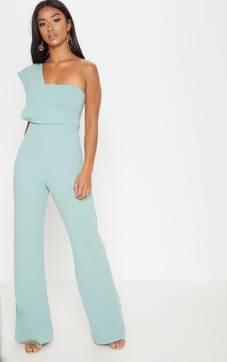 petite mint drape one shoulder jumpsuit prettylittlething aus