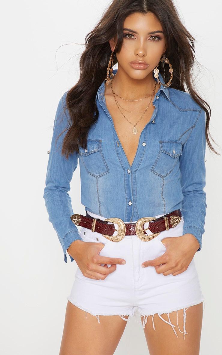 Chemise en jean à délavage moyen