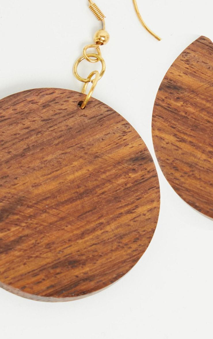 Brown Wooden Circle Disc Drop Earrings 3