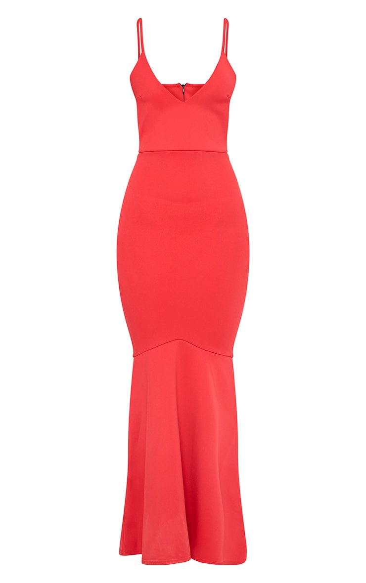 Red Plunge Fishtail Maxi Dress 3