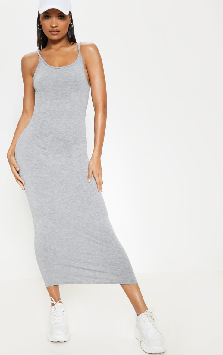 Grey Drop Arm Hole Vest Maxi Dress 1