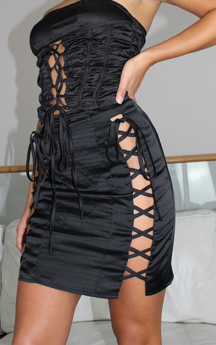Petite Black Satin Lace Up Detail Mini Skirt 4