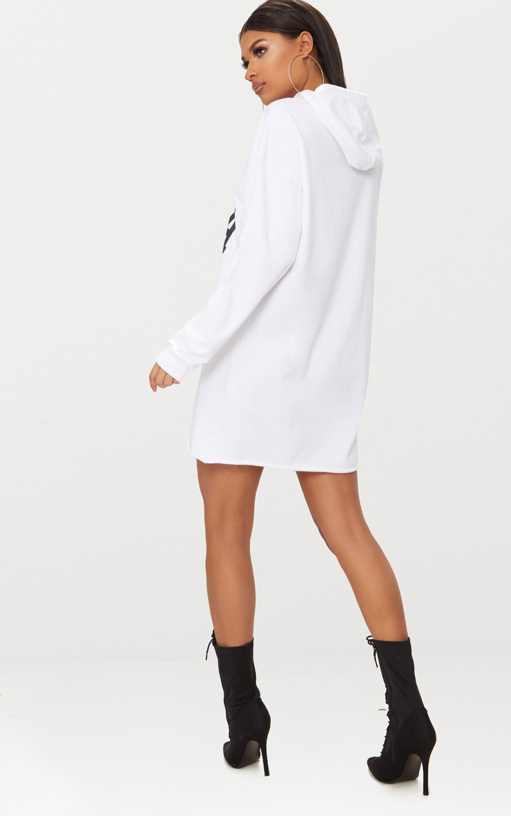 White USA Zip Hooded Sweater Dress 2