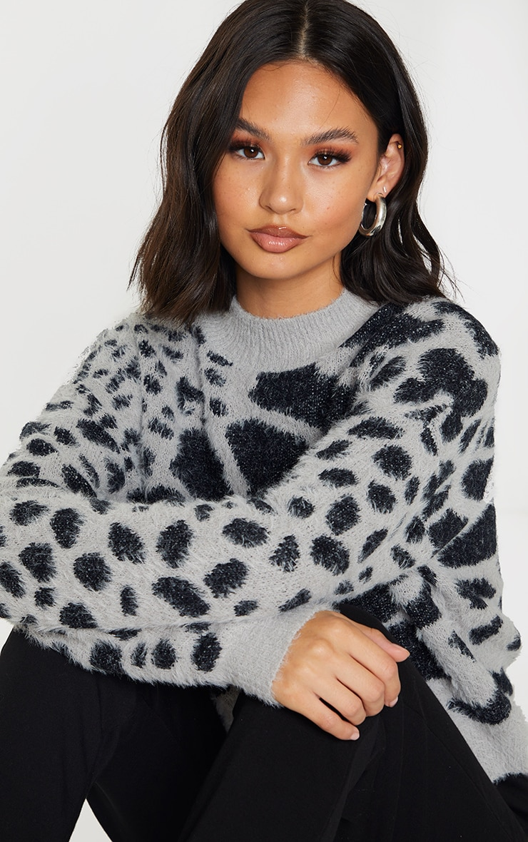 Grey Fluffy Animal Knitted Jumper 4
