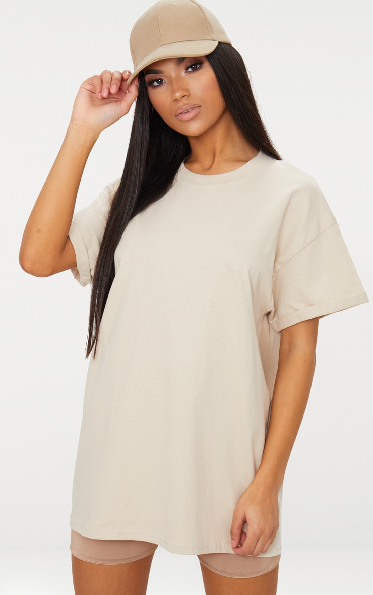 Sand Oversized Roll Sleeve Ultimate T Shirt 1