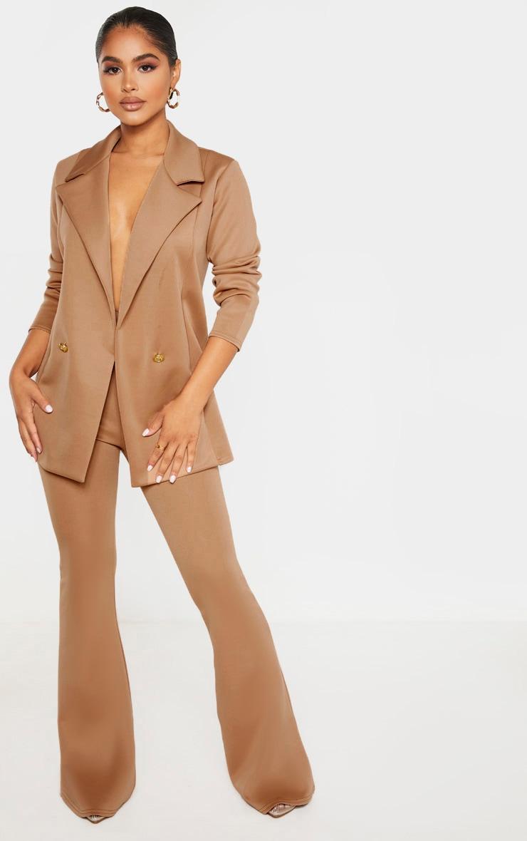 Petite Camel Oversized Gold Button Blazer 4