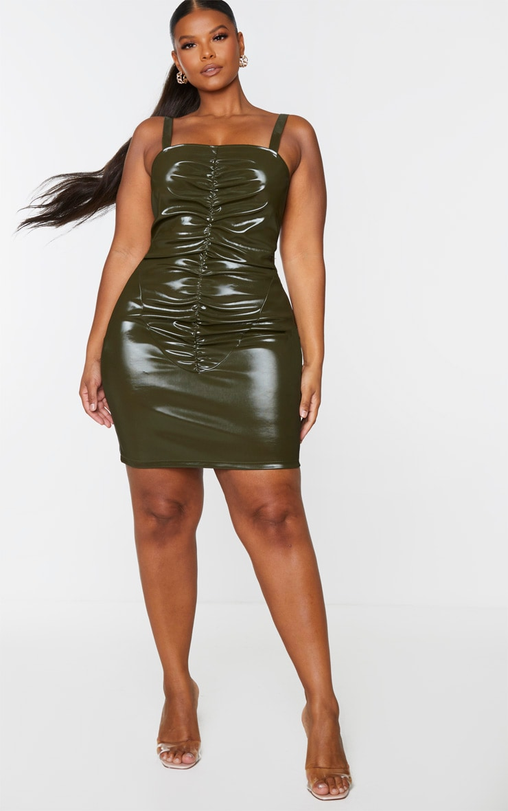 Plus Khaki Vinyl Ruched Front Bodycon Dress 1