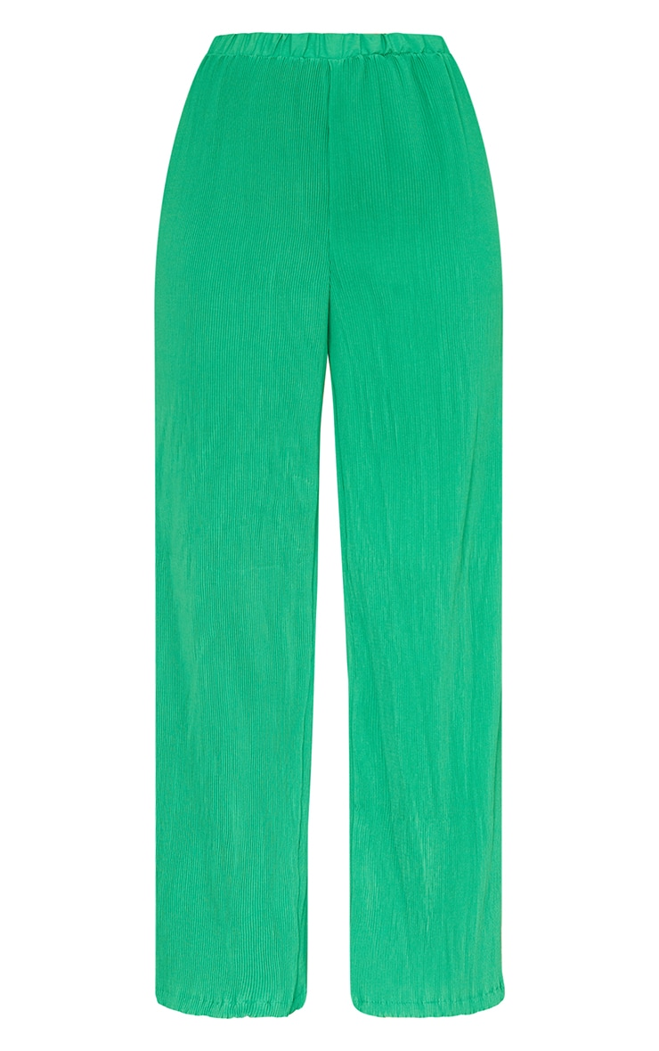 Bright Green Plisse High Waisted Wide Leg Trousers 5