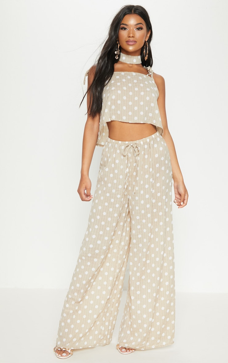 Stone Cheesecloth Polka Dot Wide Leg Trousers 1