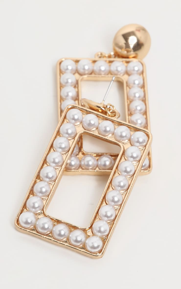 Gold Pearl Large Rectangle Door Knocker Earing 2