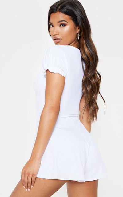 White Puff Sleeve Loose Fit Playsuit