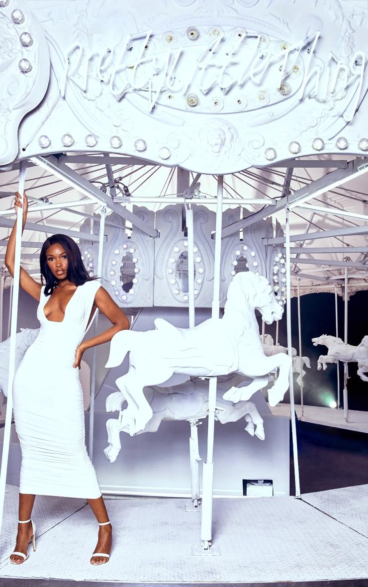 White Ruched Plunge Midi Dress 1