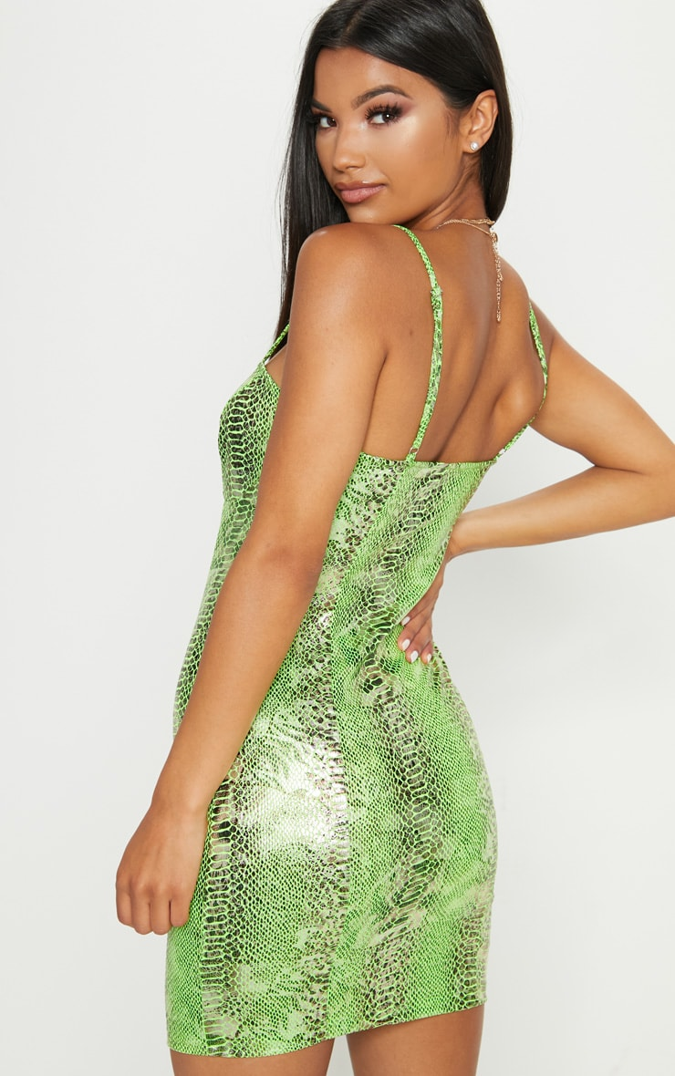 Lime Snake Print Strappy Bodycon Dress 3
