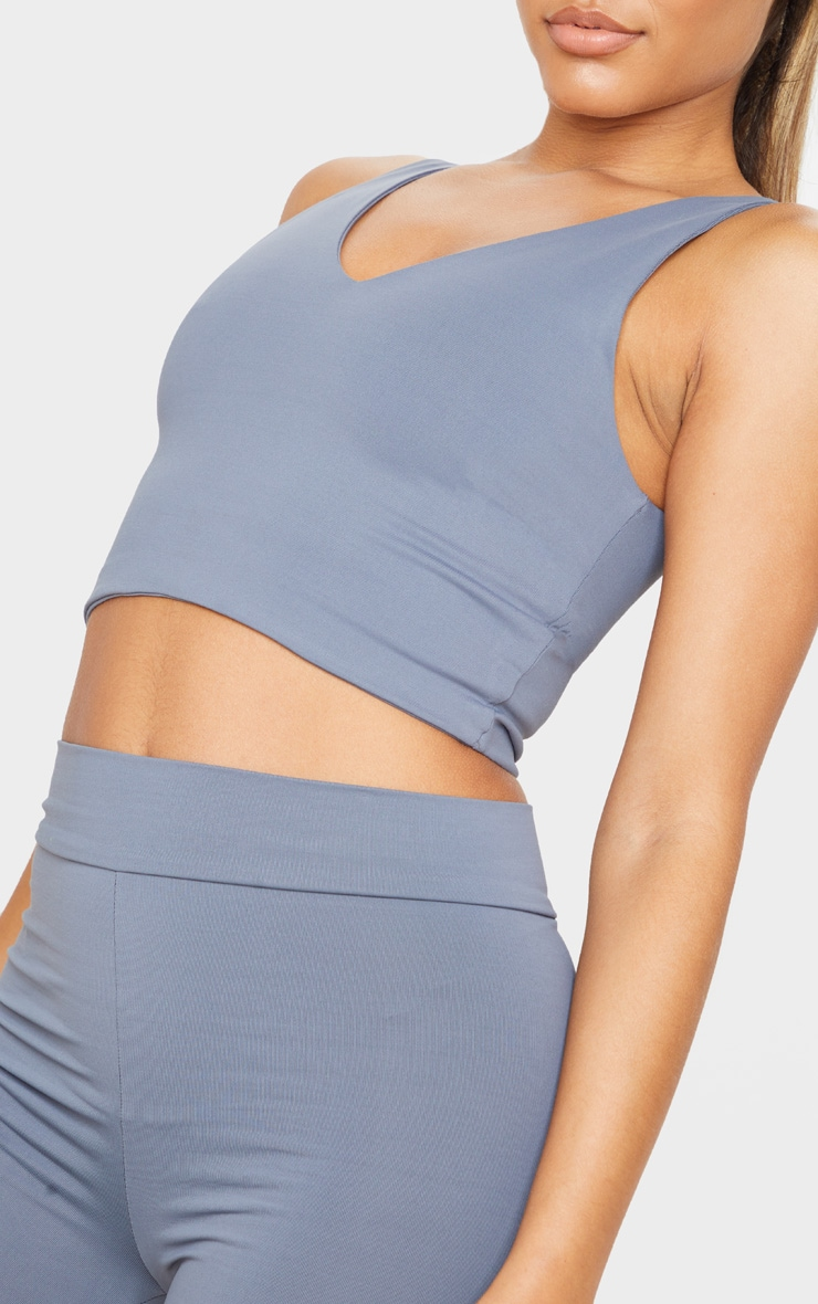 Charcoal Luxe Longline Cropped Sports Top 5