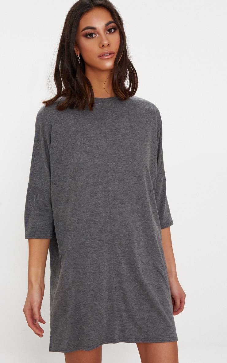 Basic Charcoal Oversized Batwing T Shirt Dress 1