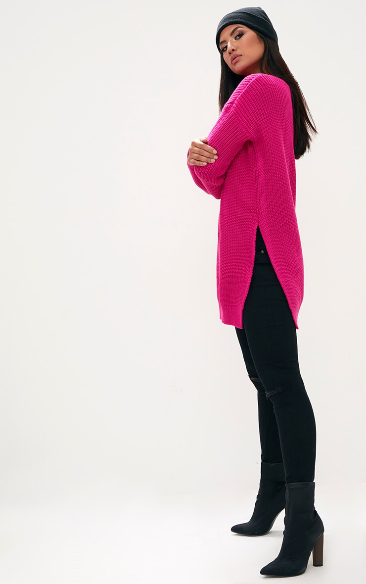 Pink Round Neck Side Split Jumper 4