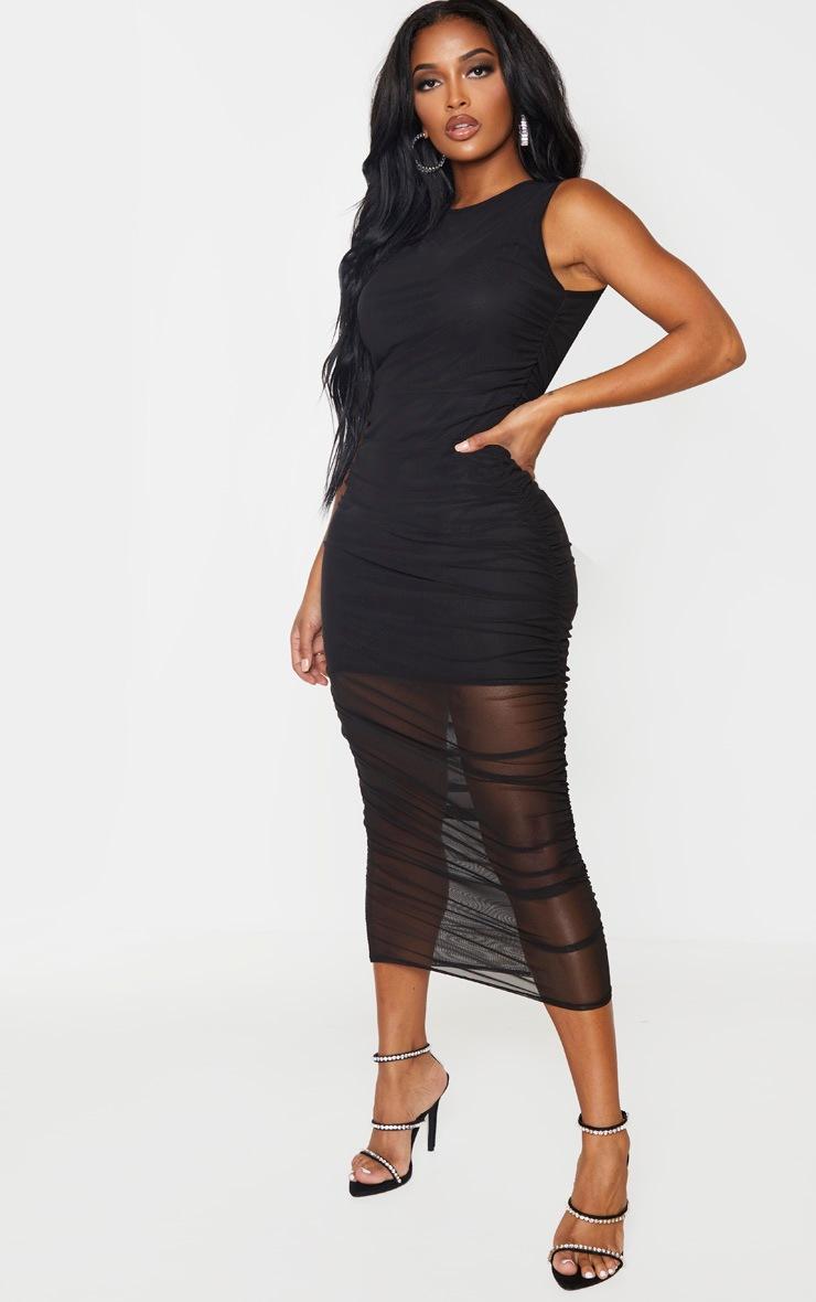 Shape - Robe sans manches mi-longue noire en mesh  4