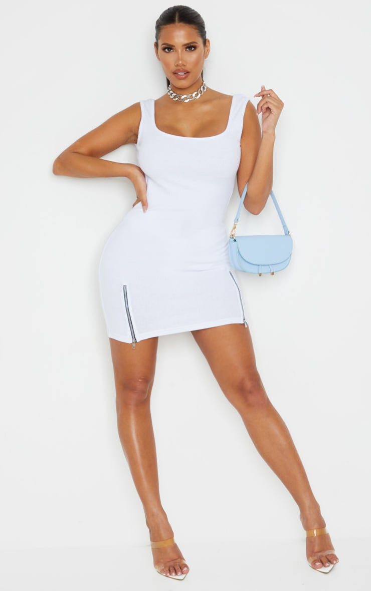 Shape White Thick Rib Zip Detail Scoop Back Bodycon Dress 3