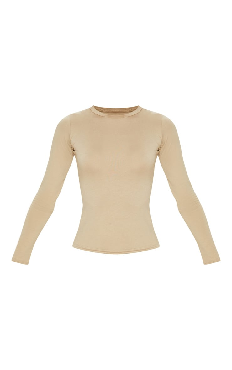 Basic Deep Stone Long Sleeve Fitted T Shirt 3