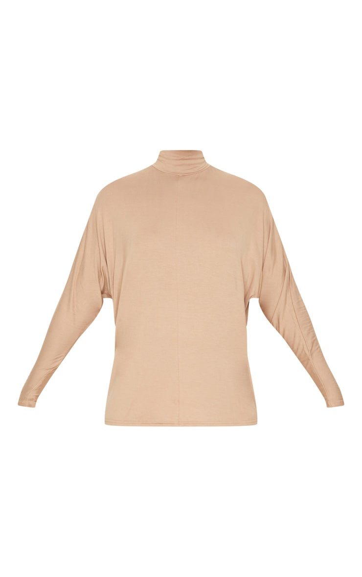 Camel Jersey High Neck Long Top 3