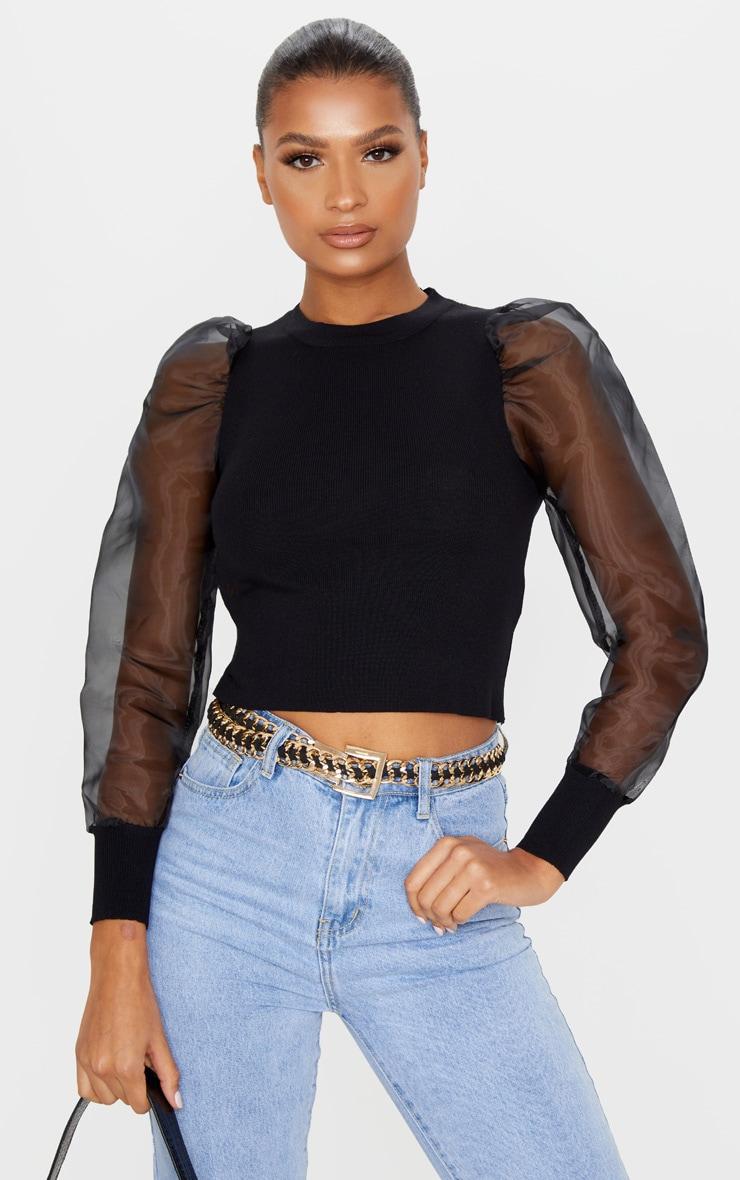 Black Organza Puff Sleeve Sweater 1