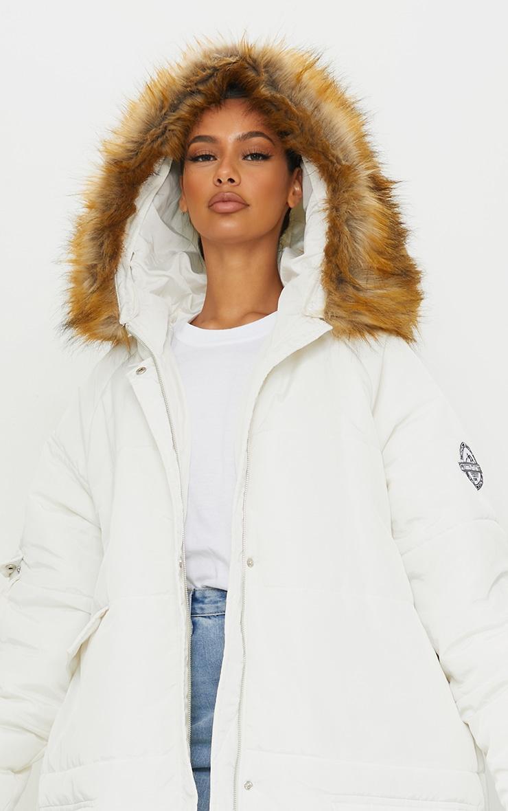 PRETTYLITTLETHING White Maxi Hooded Parka Jacket 4