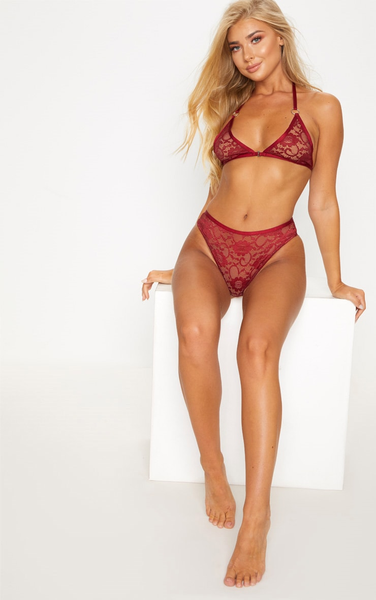 Burgundy Ring Detail Front Hook Lace Bra 1