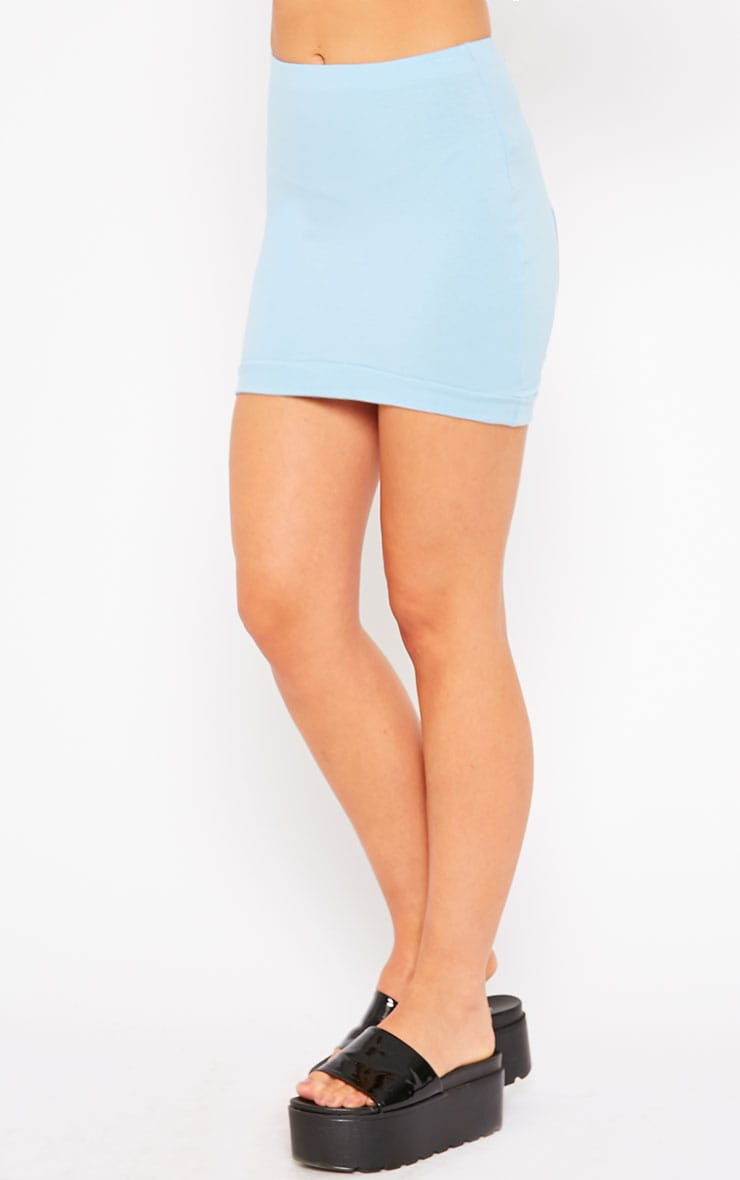 Phoenix Blue Curved Hem Mini Skirt 3