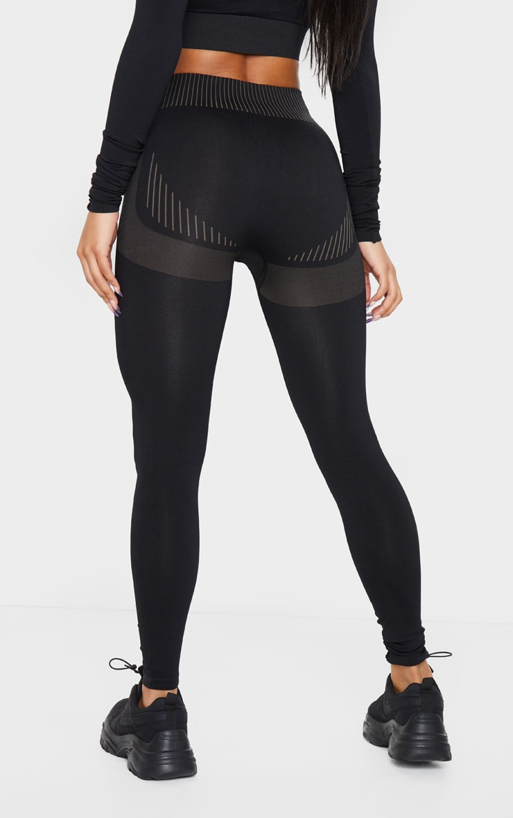 PRETTYLITTLETHING Black Contour Seamless Legging 3
