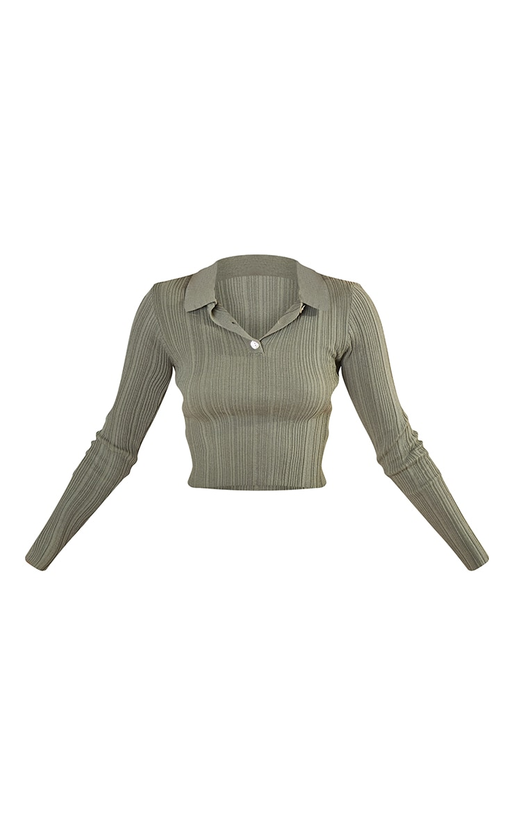 Khaki Sheer Knit Button Up Collared Top 5