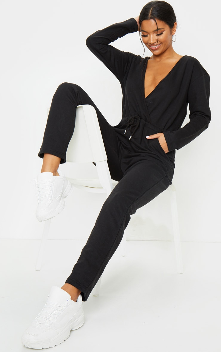 Black Wrap Over Long Sleeve Sweat Jumpsuit 3