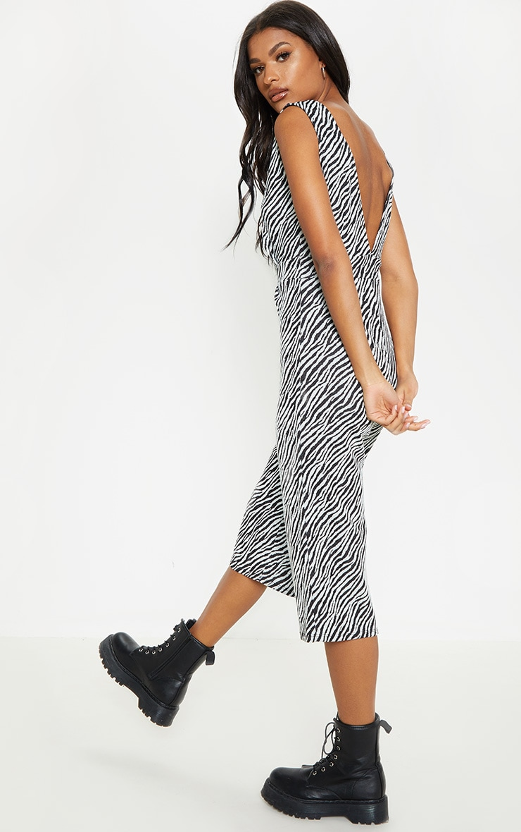 Zebra Print Plunge Jumpsuit  2