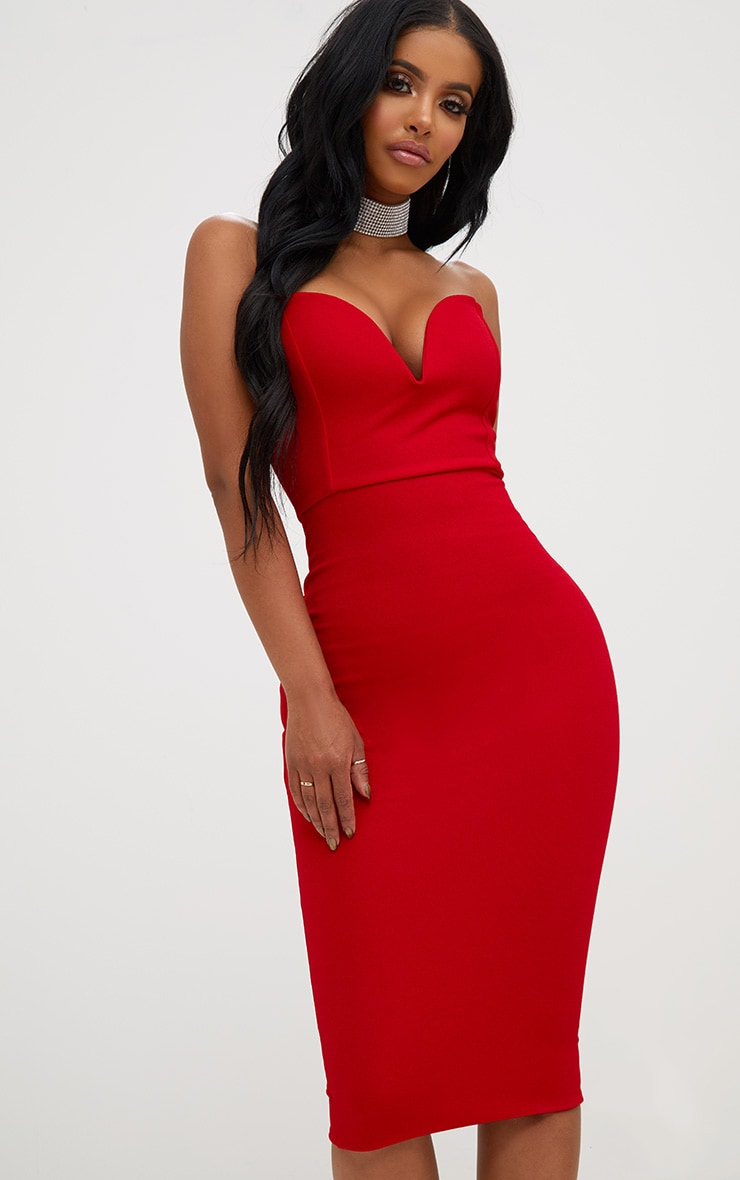 Shape Red Plunge Midi Dress