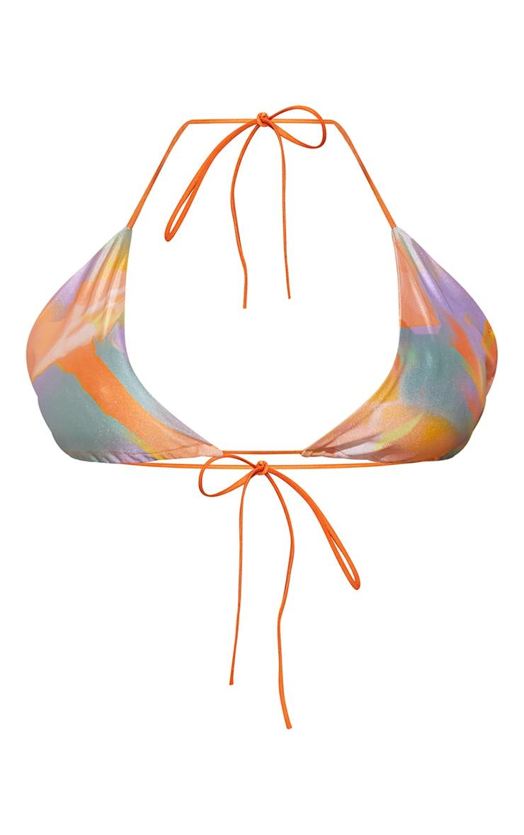 Plus Multi Abstract Print Triangle Bikini Top 5