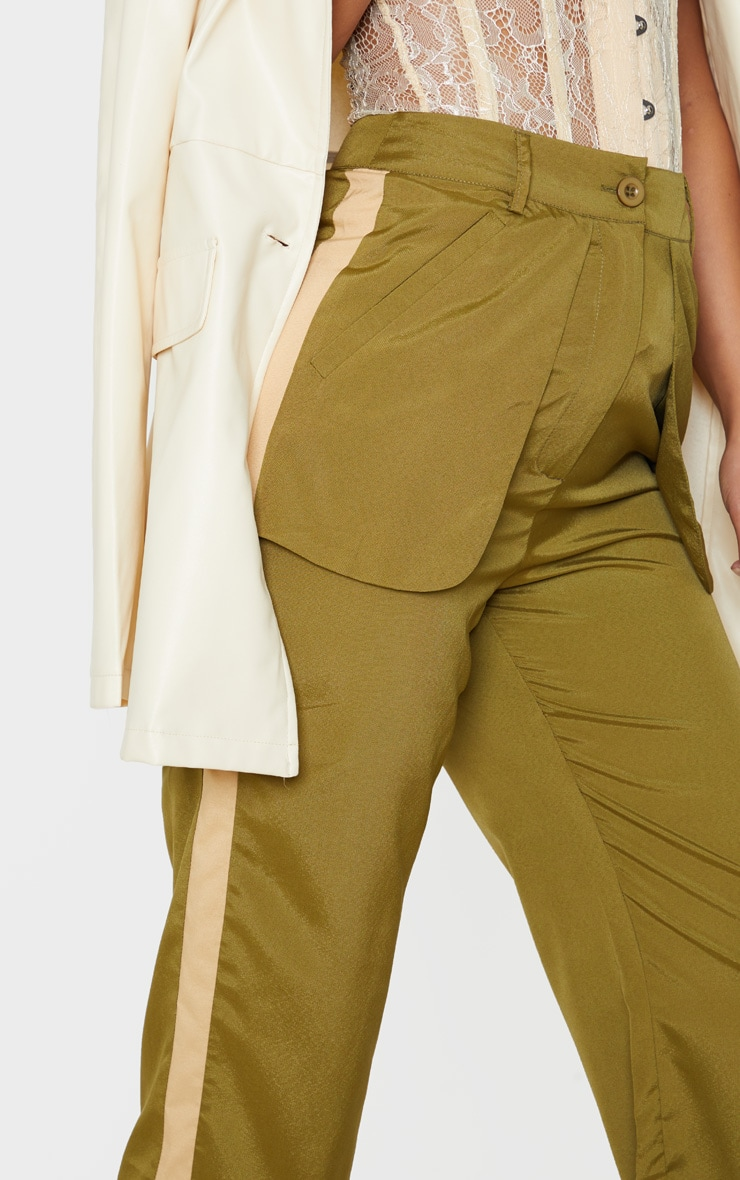 Petite Khaki Inside Out Pocket Trouser  5
