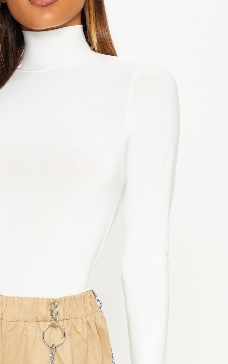 Cream Long Sleeve Slinky Roll Neck Top 5